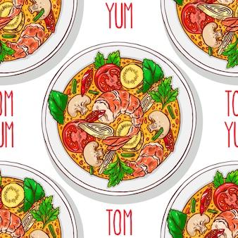 Comida asiática. tom yum kung. padrão sem emenda com sopa tradicional tailandesa com camarões. ilustração desenhada à mão