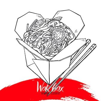 Comida asiática. wok box de esboço de carne e legumes. ilustração desenhada à mão