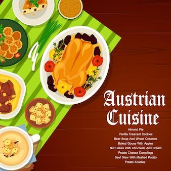 Comida austríaca em restaurante de carnes e vegetais menu capa