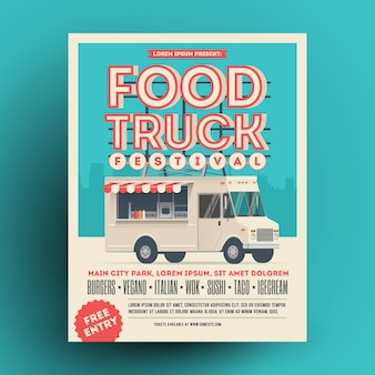 Comida caminhão ou comida de rua festival cartaz ou folheto modelo de design.