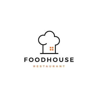 Comida casa chef chapéu cozinha restaurante café logotipo vetor ícone