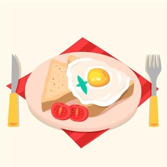 Comida caseira ovo e fatias de pão