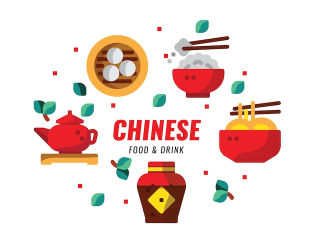 Comida chinesa e bebidas, cozinha, receitas banner. ilustração em vetor design plano