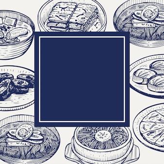 Comida coreana desenhada de mão, ilustração