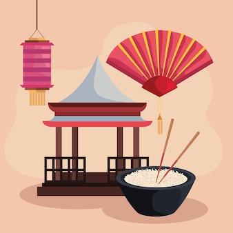 Comida coreana e ícones