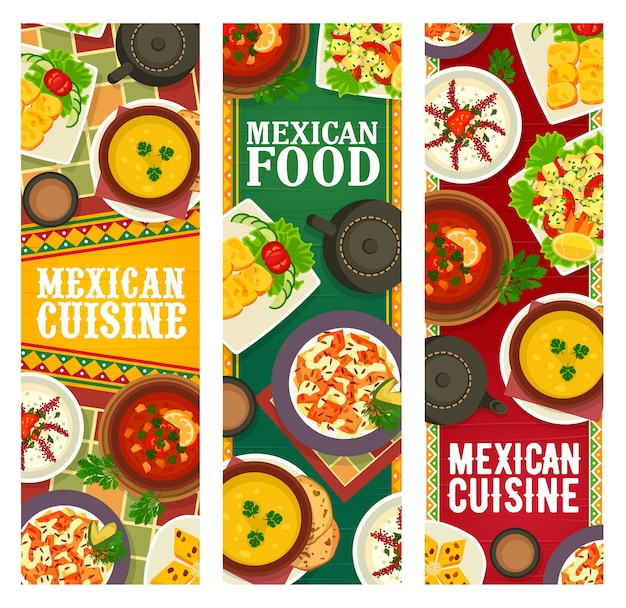 Comida da culinária mexicana, cardápio de refeições e pratos