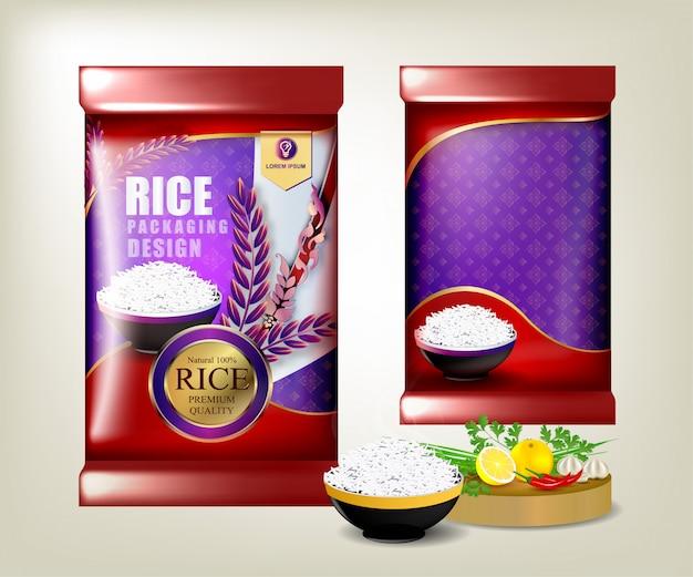 Comida de arroz ou pacote de comida tailandesa