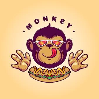 Comida de cachorro-quente com logotipo de macaco