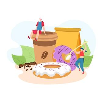 Comida de café da manhã com donuts e café quente