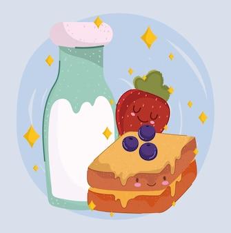 Comida de café da manhã, desenho animado, sanduíche de morango fofo e garrafa de leite