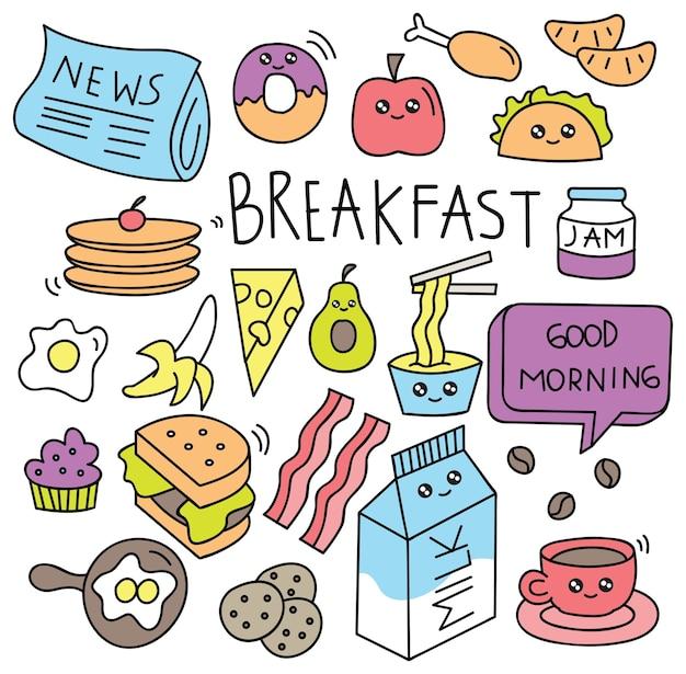 Comida de café da manhã doodle conjunto ilustração vetorial