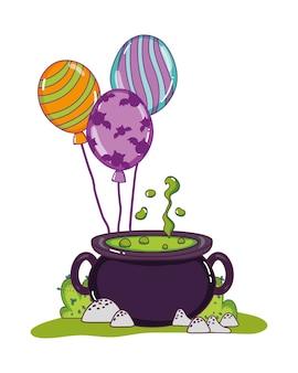 Comida de caldeirão de pote com balões engraçados