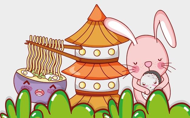 Comida de coelho e japonesa