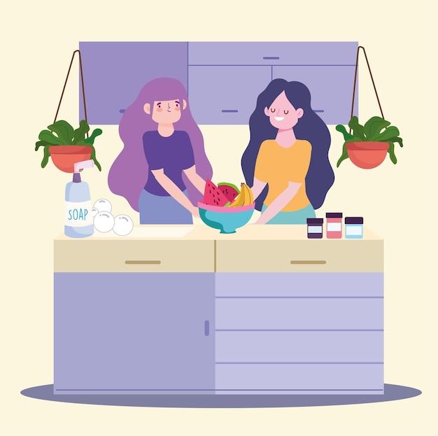 Comida de cozinha feminina