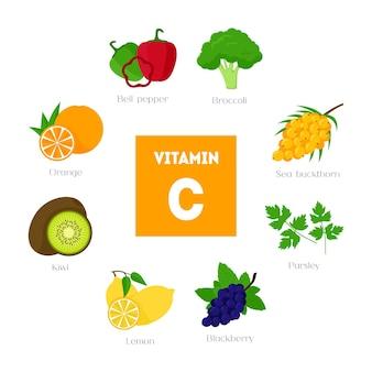 Comida de desenho animado com vitamina c.