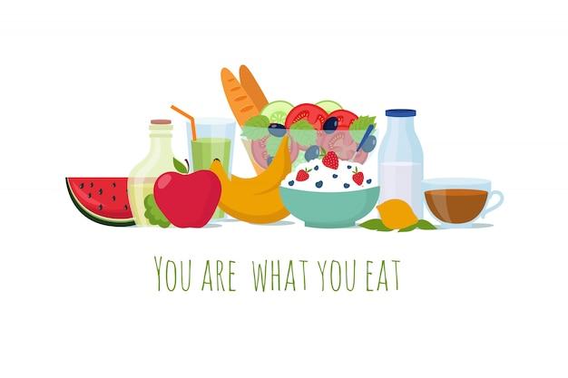 Comida de dieta saudável equilíbrio. melhores refeições para a vida