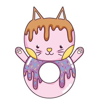 Comida de donut de gato fofo kawaii