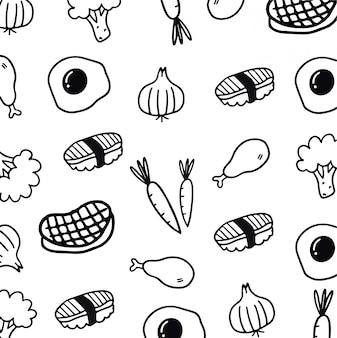 Comida de doodle desenhado mão sem emenda