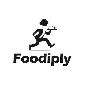 Comida de entrega de chef usar chapéu de chef cozinhar vetor de inspiração de logotipo