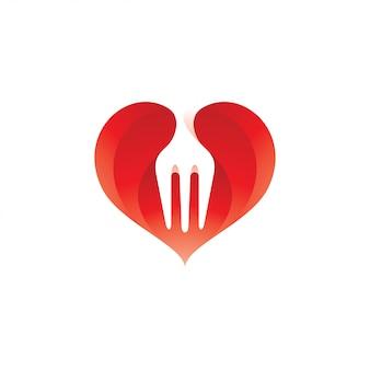 Comida de garfo e coração amor logotipo