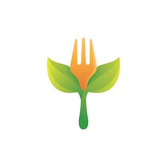 Comida de garfo e logotipo de folha verde