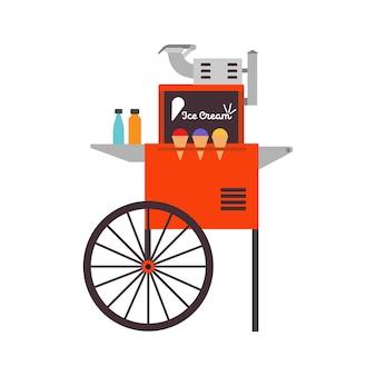 Comida de ilustração de sobremesa de vetor de carrinho de sorvete de sorvete.