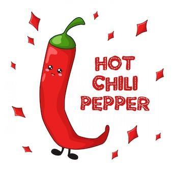 Comida de kawaii dos desenhos animados - cartão de pimenta quente
