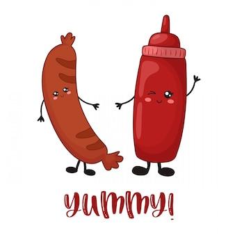 Comida de kawaii dos desenhos animados com par de ketchup e salsicha grelhada