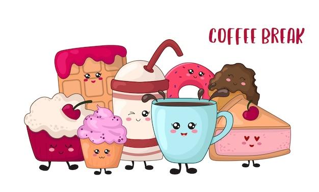 Comida de kawaii dos desenhos animados - cookies de chocolate, bolo, donut