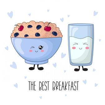 Comida de kawaii dos desenhos animados - mingau com frutas, leite