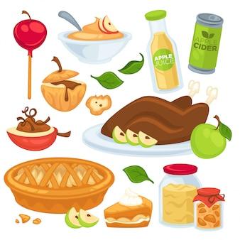 Comida de maçã e bebidas ou sobremesas.