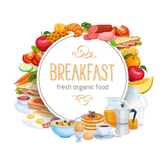 Comida de menu de modelo de banner redondo de café da manhã