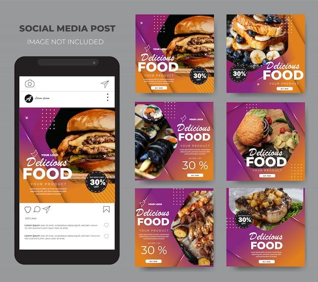 Comida de mídia social definir modelo de layout roxo moderno post feed