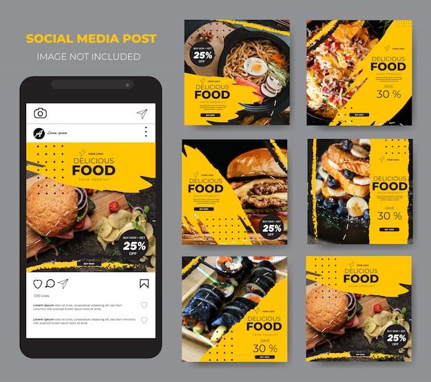 Comida de mídia social definir modelo moderno modelo amarelo post feed