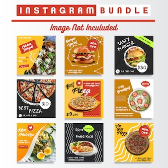 Comida de mídia social instagram posts bundle