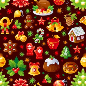 Comida de natal. padrão uniforme. bolo de natal, biscoito, boneco de gengibre. feriado.
