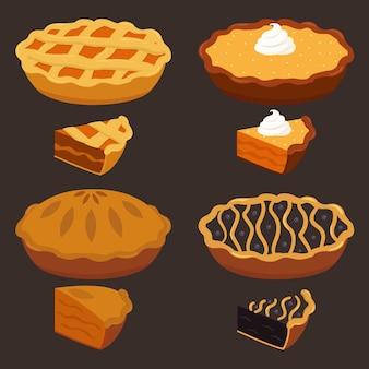 Comida de outono, abóbora paga com fatias, bolo de frutas