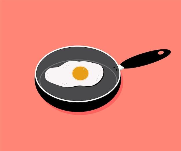 Comida de ovos fritos em uma frigideira