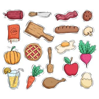 Comida de pequeno-almoço saudável e utensílios de cozinha com estilo doodle colorido