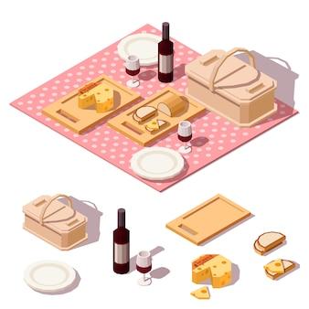 Comida de piquenique com cesta, garrafa de vinho, queijo, pão e pano