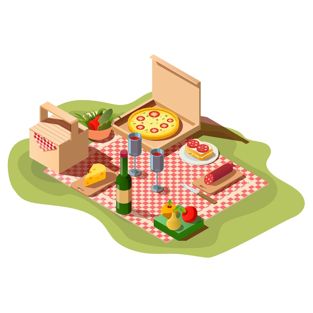 Comida de piquenique isométrica, caixa de pizza, vinho e cesta.