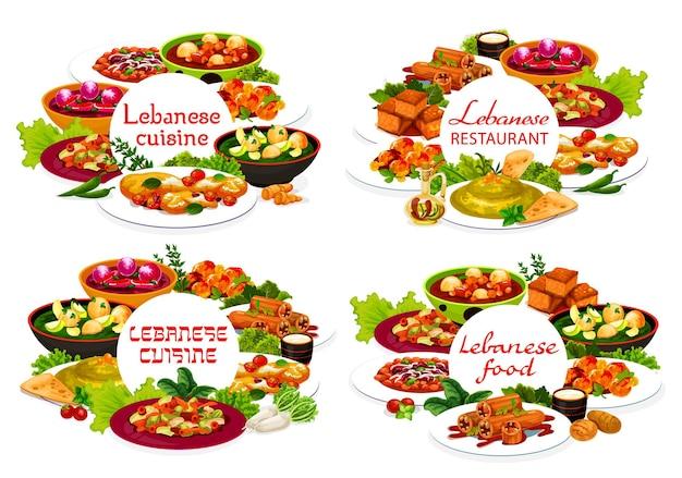 Comida de restaurante de cozinha libanesa com vetor de pratos árabes de vegetais, carnes e sobremesas. hummus com crouton, kofta de cordeiro e sopas de bolinho, salada fattoush, queijo halloumi, abobrinha recheada e bolo