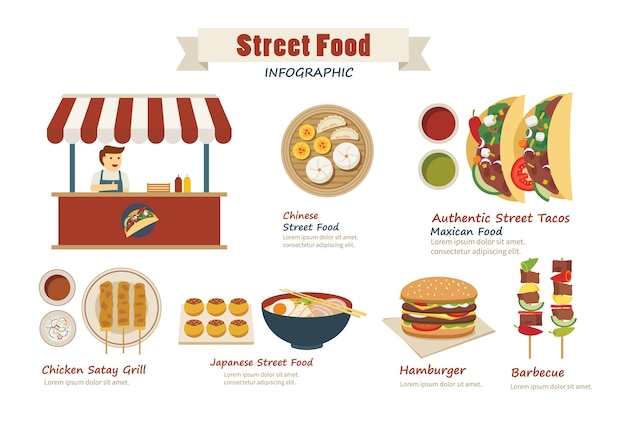 Comida de rua infográfico design plano