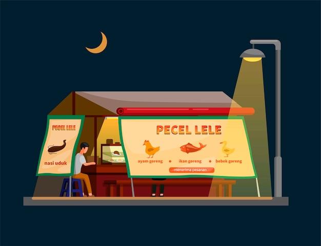 Comida de rua tradicional da indonésia vendendo bagre frito, também conhecido como pecel lele, em barraca de vendedor em cena noturna ilustração em desenho animado