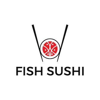 Comida de sushi moderna do logotipo do japão