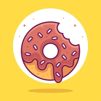 Comida deliciosa de rosquinhas de chocolate ou ilustração de ícone de vetor de logotipo de sobremesa em estilo simples