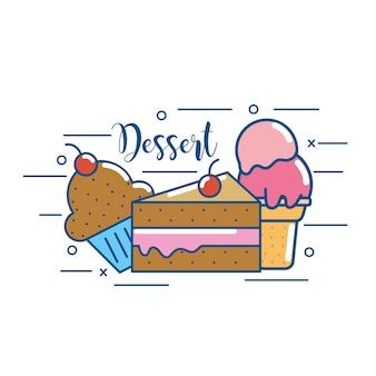 Comida deliciosa de sobremesa deliciosa pastelaria