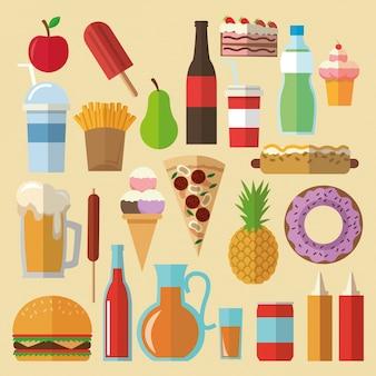 Comida deliciosa. ícone de conjunto de ícones de alimentos. conceito de menu.