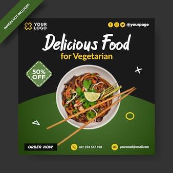 Comida deliciosa para vegetariano banner post instagram