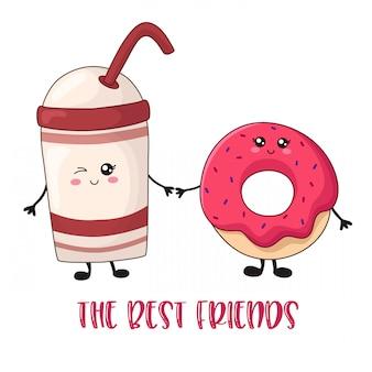Comida doce de kawaii dos desenhos animados - cartão de café e rosquinha